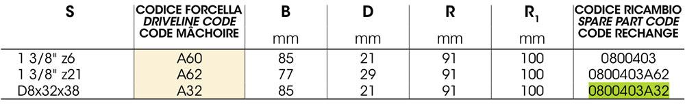 0800403A32 - Вилка кардана 4c на Z8