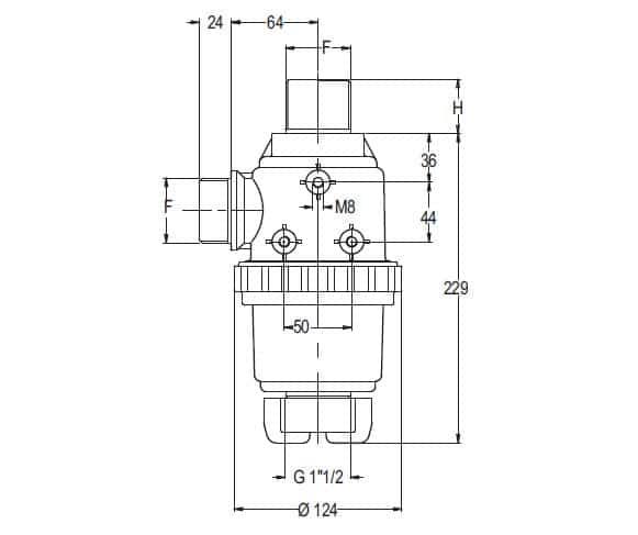 """38867 - Фільтр Geoline всмоктуючий з клапаном 150 л/хв  1"""" 1/2 М"""