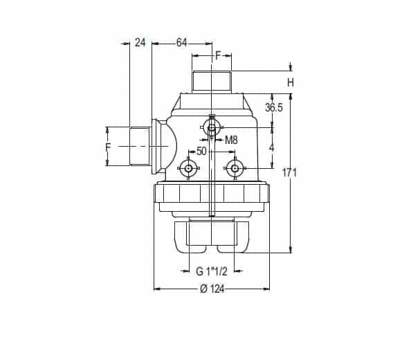 """38889 - Фільтр Geoline всмоктуючий з клапаном 150 л/хв  1"""" 1/2 М"""