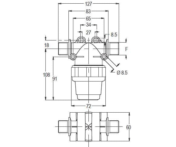 """38943 - Фільтр Geoline лінійний  1/2""""  BSP80"""