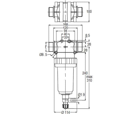 """38955 - Фільтр Geoline лінійний  1"""" 1/4 з клапаном 80MESH"""