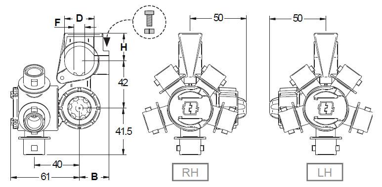 """39317 - Корпус форсунки 3-х позиційний Geoline TRIJET - Quick (10 мм - 1"""")"""