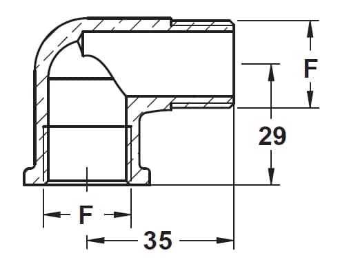 """39491 - Фітінг латунний 90° 1/2"""" M-F"""