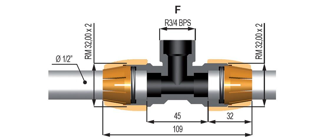 """46895 - Трійник Geoline 3/4"""" на трубу 1/2"""""""