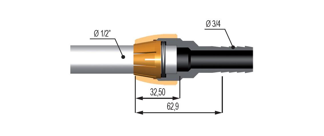 """46923 - Фітінг Geoline на трубу 1/2"""" під шланг"""