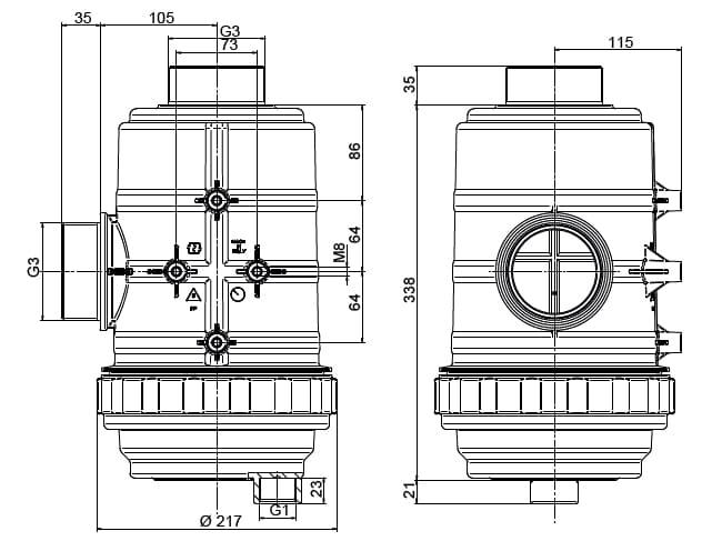 """49872 - Фільтр Geoline всмоктуючий 800 л/хв  3"""" 32 MESH"""