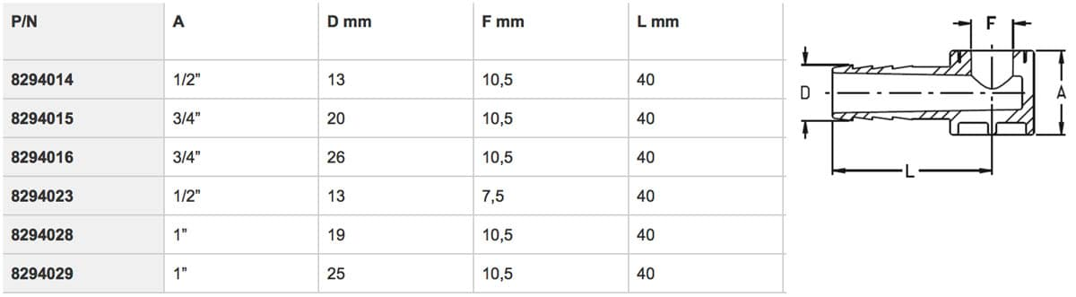 """8294014 - Фітінг для регульованих форсунок 1/2"""" - 13 мм - 10,5 мм"""