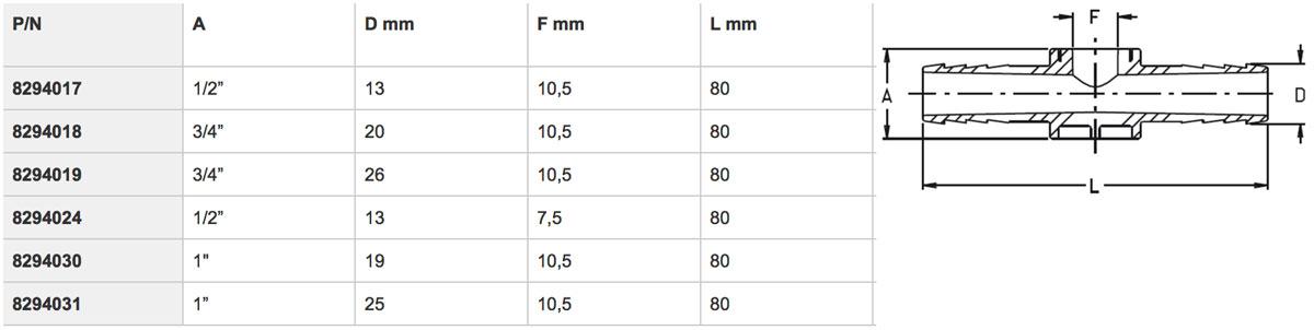 """8294017 - Фітінг для регульованих форсунок 1/2"""" - 13 мм - 10,5 мм"""