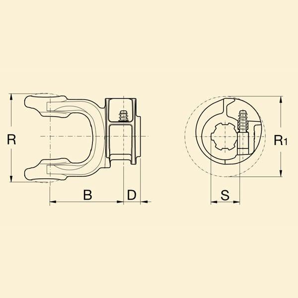Вилка кардана 1с на Z8 з обгонною муфтою